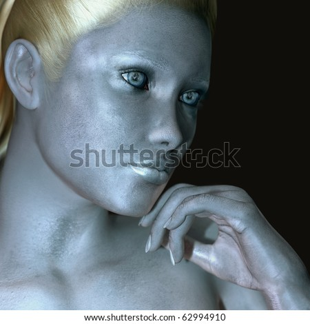 silver body paint - stock photo