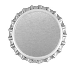 Silver bottle top isolated against white close up from above