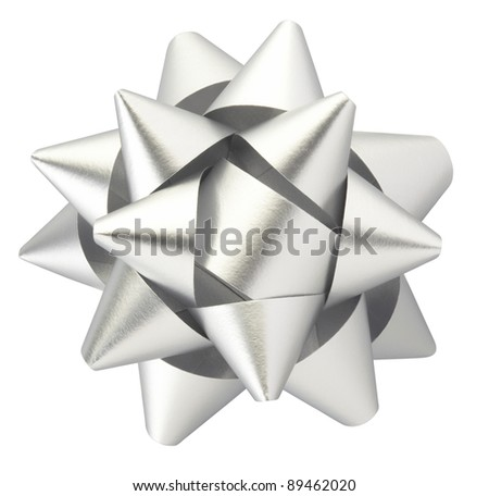 Silver bow isolated on white clipping path included