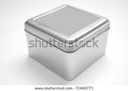 Silver box on isolated background.