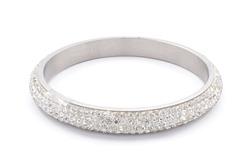 silver bracelet with diamonds on a white background