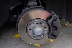 silver brake disc