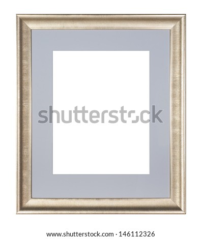 Silver bronze frame isolated on white background.