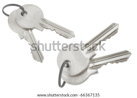 silver bunch of keys on white background