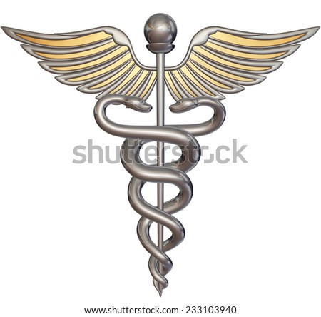 Silver caduceus isolated on white