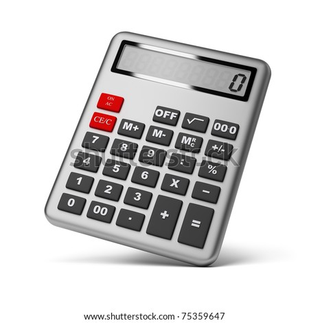 Silver calculator. 3d image. Isolated white background.