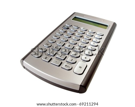 Silver calculator isolated on the white background