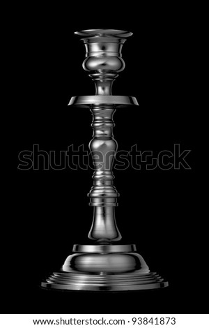 Silver candlestick isolated on black background