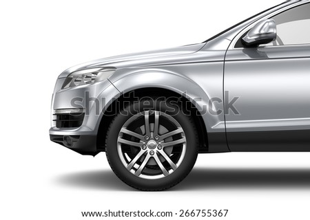 Silver car - cropped shot isolated on white