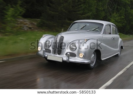 Silver car on the move