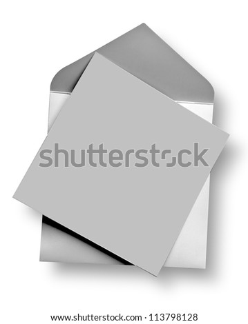 Silver card and envelope with shadow (clipping path)