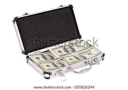 Silver case with dollars on a white background
