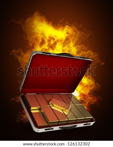 Silver case with gold in Fire. High resolution. 3D image