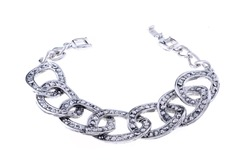 silver chain bracelet on a white background