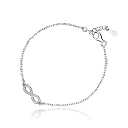silver chain bracelet with pendent on the white background