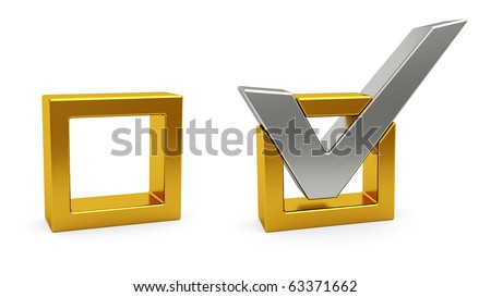 Silver check mark and golden check box on white background. High resolution 3D image