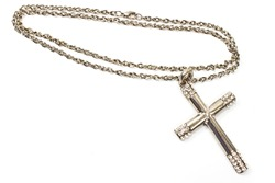 Silver christian cross necklace isolated on white