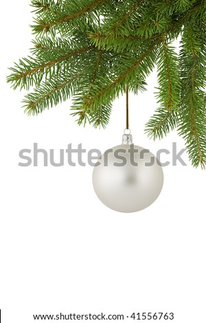 Silver Christmas ball hanging on a spruce twig.
