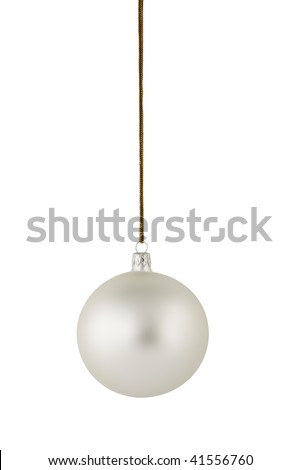 Silver Christmas ball hanging on the gold string. Clipping path included.