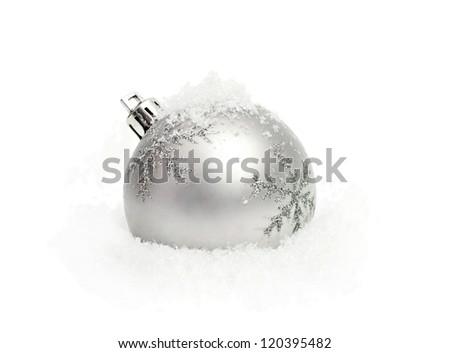 silver christmas ball with snow isolated on white