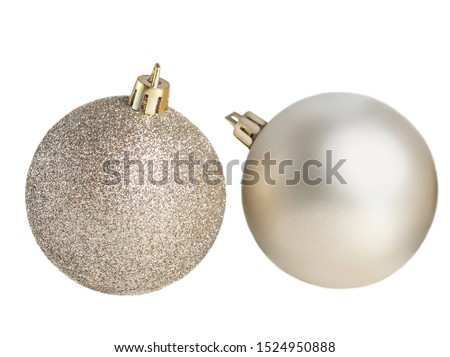Silver Christmas balls  Isolated. Collection of Xmas baubles  on white background. #1524950888