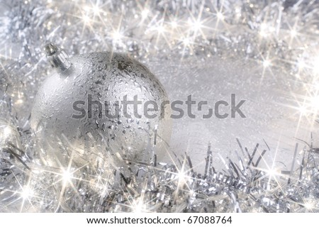 Silver Christmas card with sparkling Christmas lights