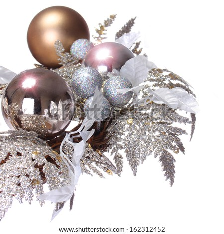 Silver Christmas Decoration. Shiny and Glitter Holidays Balls isolated on white background