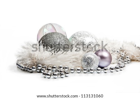 Silver Christmas decorations on white background