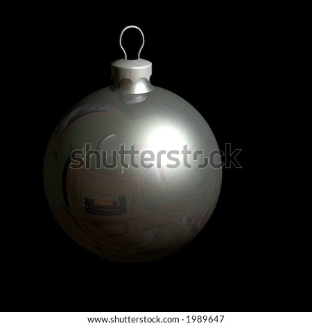 Silver Christmas Ornament. Blown Glass Ball. Has clipping path to make alpha.