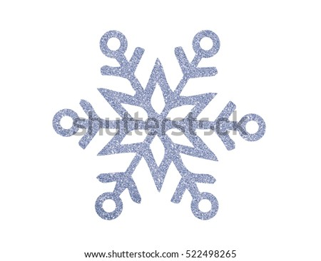 Silver Christmas snowflake isolated on white background #522498265