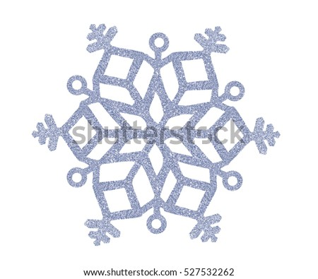 Silver Christmas snowflake isolated on white background #527532262