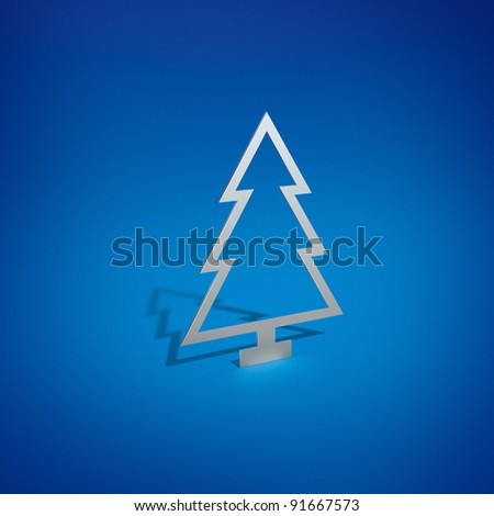 Silver Christmas Tree on Blue Background