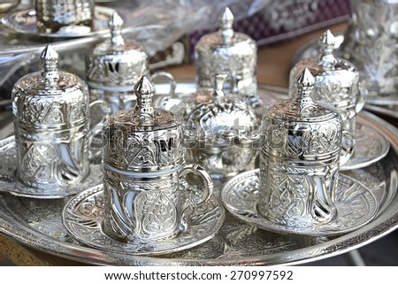 Silver Coffee Cup Set Stock photo ©