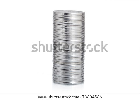 silver coin stack isolated on white