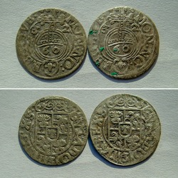 silver coins of Poland 17th century, close-up on a light background, obverse and reverse