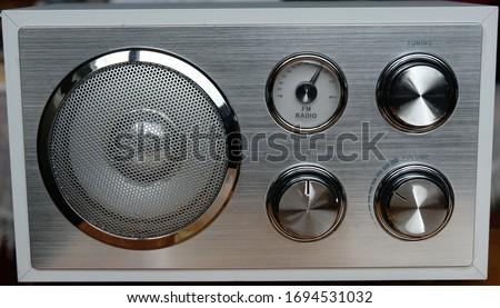 Silver colored FM Radio Close up Stok fotoğraf ©