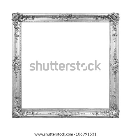 Silver colored vintage picture frame - stock photo