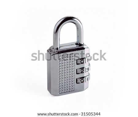 Silver combination lock isolated on white.