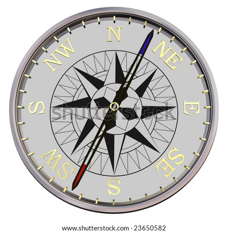 silver compass on white background - path included