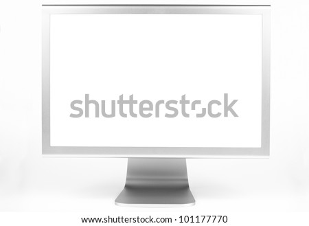 Silver computer monitor front view with white screen isolated on white