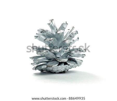 Silver cone against a white background