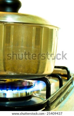 Silver cooking pot in use on a gas stove