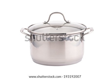 Silver cooking pot on white background