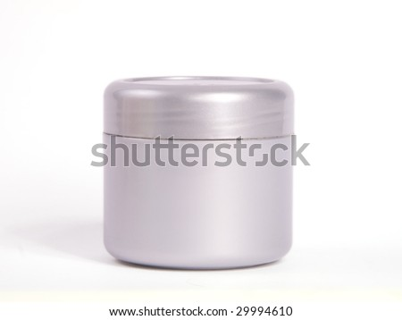 Silver cosmetic bottle on white background