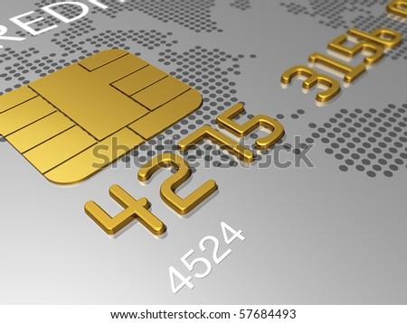 Silver credit card, macro detail 3D render - stock photo