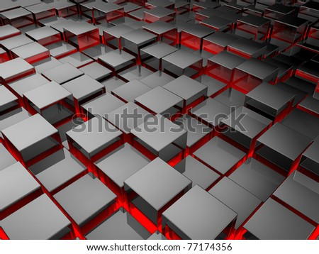 Silver cubes background, metal blocks with red illumination, 3d render