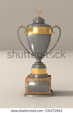 silver cup with a laurel wreath from gold on a support from marble for rewarding of winners