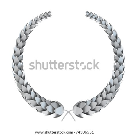 silver 3d laurel isolated on white