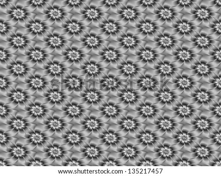 Silver Daisy Pattern / Digital abstract fractal image with a tiled daisy flower design in black and white.