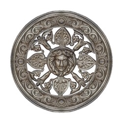 Silver decorative architectural element with floral ornament and mask of antique deity. Design element with clipping path
